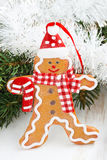Christmas gingerbread man, close-up Royalty Free Stock Images