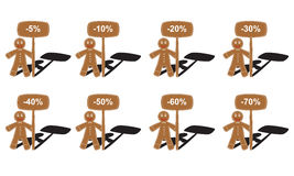 Christmas gingerbread man collection. With table of percent collection Stock Photos