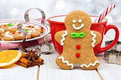 Christmas gingerbread man cookie table scene with hot chocolate Royalty Free Stock Photos