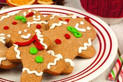 Christmas gingerbread man cookies on a plate close up Royalty Free Stock Image