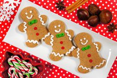Christmas gingerbread man cookies with red polka dot background royalty free stock photos