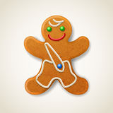 Christmas gingerbread man. Decorated colored icing Stock Photos