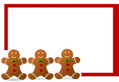 Christmas gingerbread man frame Stock Photos