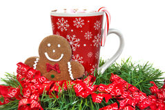 Christmas gingerbread man with hot chocolate Royalty Free Stock Photography