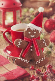 Christmas gingerbread man. And hot drink Stock Photo