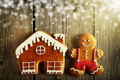 Christmas gingerbread man and house cookies Royalty Free Stock Image