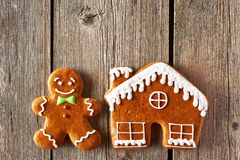 Christmas gingerbread man and house cookies Stock Image