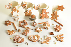 Christmas gingerbread man and other shapes Royalty Free Stock Images