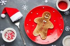 Christmas gingerbread man pancake with cinnamon sugar. Christmas Royalty Free Stock Photos