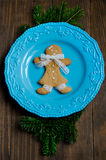 Christmas gingerbread man on a plate Royalty Free Stock Photography