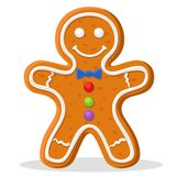 Christmas gingerbread man smiling on a white. Christmas gingerbread man smiling on a white background vector illustration