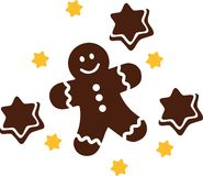 Christmas gingerbread man with stars. Vector stock illustration
