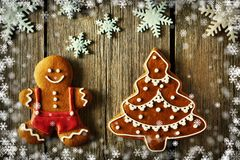 Christmas gingerbread man and tree cookies Stock Images
