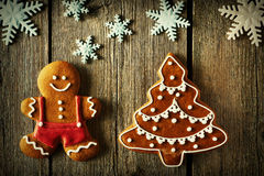 Christmas gingerbread man and tree cookies Royalty Free Stock Photos