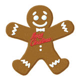 Christmas Gingerbread Man. Vector Illustration of a cartoon Gingerbread Man with Merry Christmas written on him vector illustration