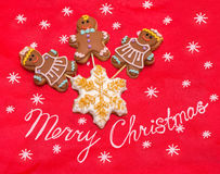 Christmas gingerbread man and woman cookies Stock Images