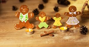 Christmas gingerbread men candles Stock Image