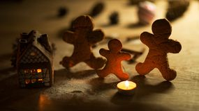 Christmas gingerbread men candles Royalty Free Stock Photography