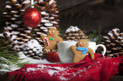 Christmas Gingerbread Men and Hot Drink Royalty Free Stock Photo