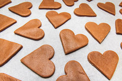 Christmas gingerbread. Non decorated heart shaped gingerbread cookies Stock Photo