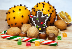 Christmas gingerbread and nuts Royalty Free Stock Images