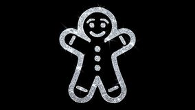 Christmas Gingerbread Ornament Man Element Blinking Icon Particles Background. Christmas Gingerbread Ornament Man Element Icon Symbol Abstract Blinking Sparkle stock illustration