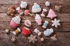 Christmas gingerbread in pastel colors. Horizontal top view Stock Photography
