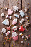 Christmas gingerbread in pastel colors. vertical top view Stock Photo