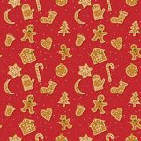 Christmas gingerbread pattern. Vector seamles pattern with Christmas ginger bread cookies. Gingerbread men and Christmas tree, star, bell, house, cane, moon and Stock Image
