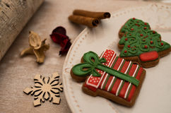Christmas gingerbread. Placed on plate Royalty Free Stock Photos