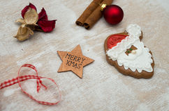 Christmas gingerbread. Placed on table Stock Photos