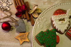 Christmas gingerbread. Placed on table Royalty Free Stock Image