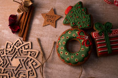 Christmas gingerbread. Placed on wooden table Stock Photography