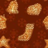 Christmas gingerbread seamless pattern Stock Photos