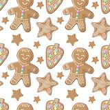 Christmas gingerbread seamless pattern on white background.. Gingerbread figurines  pattern. Christmas gingerbread seamless pattern on white background. New Royalty Free Stock Images