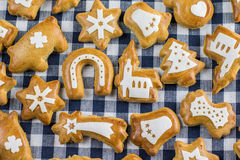 Christmas gingerbread on set table Royalty Free Stock Photography