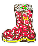 Christmas gingerbread in the shape of a boot Royalty Free Stock Image