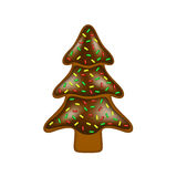 Christmas gingerbread in shape of tree with chocolate stock photography