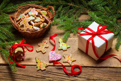 Christmas gingerbread and a small gift Stock Photography