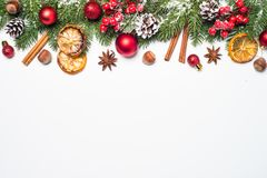 Christmas gingerbread, snow fir tree and decorations Royalty Free Stock Image