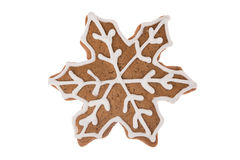Christmas gingerbread snowflake isolated on a white background Royalty Free Stock Photos