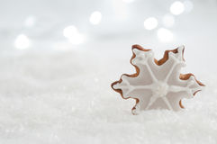 Christmas Gingerbread Star Cookie with Decoration Stock Photo