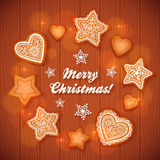 Christmas gingerbread stars and hearts greeting Stock Image