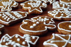 Christmas gingerbread. Sweet Christmas gingerbread with snowman, typical Czech Christmas bread Royalty Free Stock Photos
