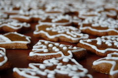 Christmas gingerbread. Sweet Christmas gingerbread with snowman, typical Czech Christmas bread Stock Photo