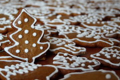 Christmas gingerbread. Sweet Christmas gingerbread with snowman, typical Czech Christmas bread Stock Images