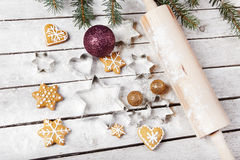 Christmas gingerbread on the table Stock Photos