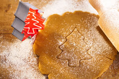 Christmas gingerbread tree cookie cutter Royalty Free Stock Photo