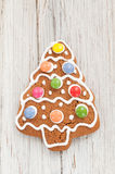 Christmas gingerbread tree on wooden background Stock Photography