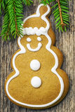 Christmas gingerbread on a wooden table Royalty Free Stock Photography